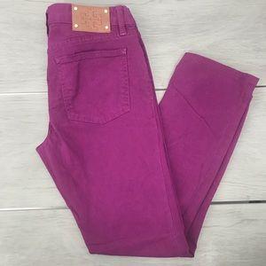 Tory Burch ivy super skinny fuchsia jeans size 28